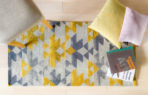 [Non Shedding Lightweight and Durable Rugs]-scandinavian modern contemporary geometric patters art deco nordic grey yellow white triangles rectangular super thing area rug for living room bedroom kitchen kids room productivity mood boosting