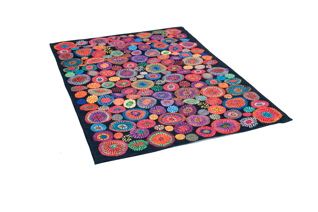 [Non Shedding Lightweight and Durable Rugs]- modern unique contemporary designer rug and carpet washable washing machine friendly thin super thin easy to clean easy to carry black colourful colours red blue