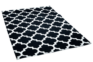 [Non Shedding Lightweight and Durable Rugs]- black white art deco geometric patterns symmetric rug and carpet washable easy to clean and carry contrast black and white living room bedroom entrance hallway kitchen