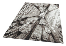 Load image into Gallery viewer, [Non Shedding Lightweight and Durable Rugs]- 3d contemporary scenic architecture skyscrapers urban city perspective area rug black white grey silver charcoal contrast patterns with lines living room kitchen entrance hallway bedroom indoor thin area rug and carpet