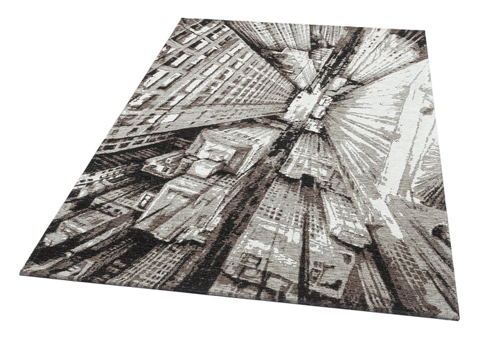 [Non Shedding Lightweight and Durable Rugs]- 3d contemporary scenic architecture skyscrapers urban city perspective area rug black white grey silver charcoal contrast patterns with lines living room kitchen entrance hallway bedroom indoor thin area rug and carpet