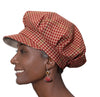 Women's Hat - Red and Tan Houndstooth Wool Cap