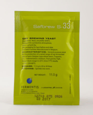 Safbrew S-33 Dry Brewing Yeast 11.5 Grams