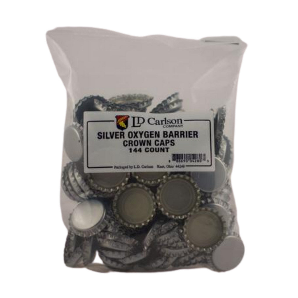 Silver Oxygen Barrier Crown Caps (144/bag)