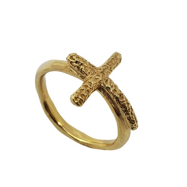 Aloes - Cross Gold Ring