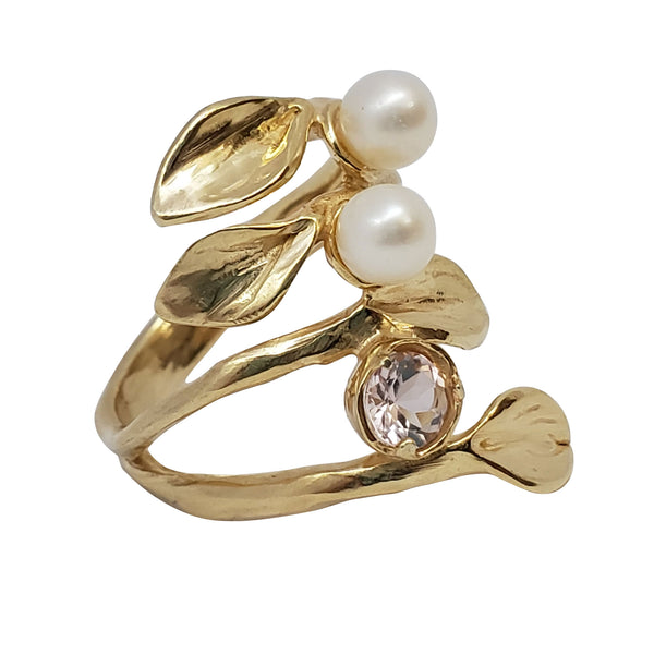 Jessamine - Leaves Ring, Pearls & Morganite