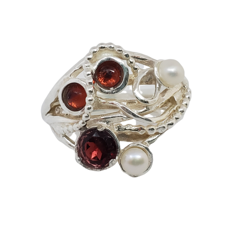 Rosebud - Silver Gemstones Ring