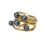 Hawthorn - Black Pearls Gold Ring