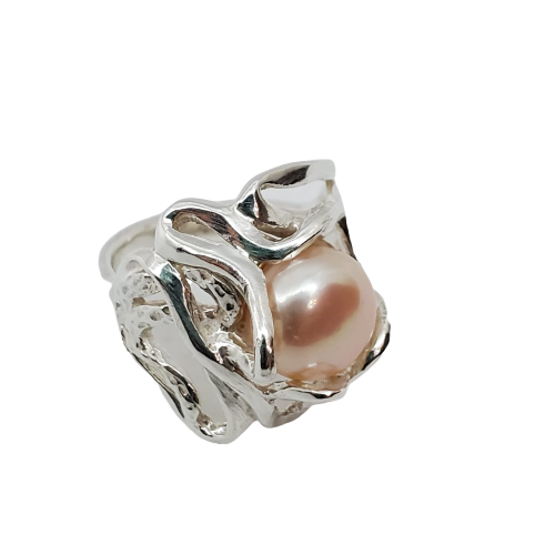 Smallage - Pearl Silver Ring