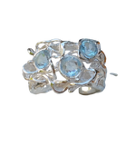 Bloodroot - Blue Topaz Silver Ring
