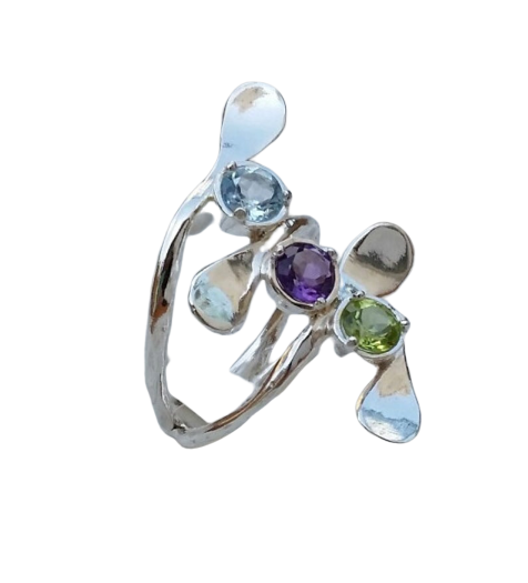 Spirulina - Gemstones Silver Ring