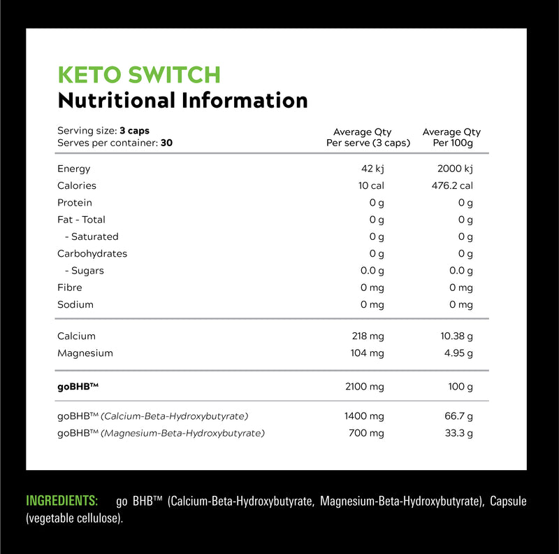Keto Switch Caps 30 Serves