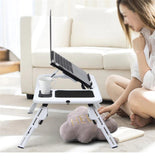 Portable Folding Laptop Table with Dual Cooling Fans - 1StopShop