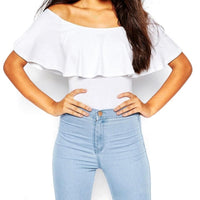 New Fashion Women Summer Sexy Off Shoulder Rompers Ruffles Bodysuit Tops Bodycon Solid Blusa Jumpsuit 5 Colors