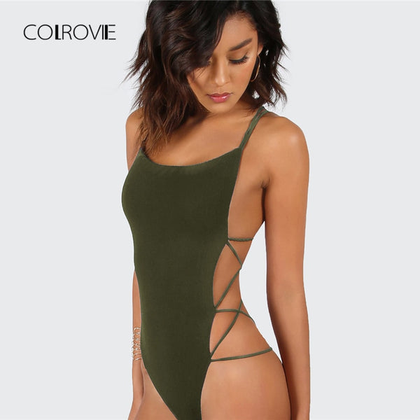 COLROVIE Army Green Criss Cross Strappy Backless Sexy Bodysuit Summer Mid Waist Night Out Stretchy Women Bodysuits