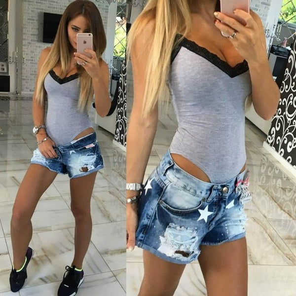 2019 Summer Women Bodycon Bodysuit Lace V Neck Sleeveless Bandage Jumpsuit Bodysuit Ladies Romper Leotard Casual Clothing