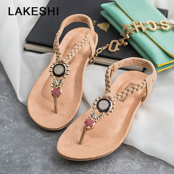 LAKESHI T-Strap Shoes Women Sandals Summer Flat Sandals 2019 Bohemian Flip Flops Women Shoes Roman Casual Beach Sandals Slip-On