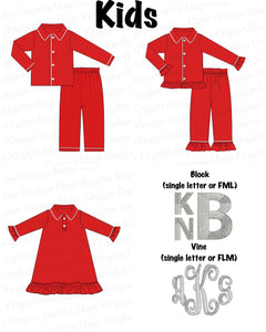 Red Knit Kids Pajamas Collection EXTRAS - ETA early November