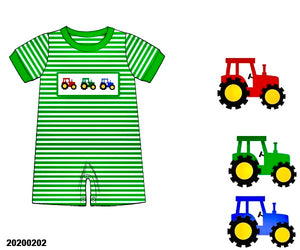 Tractor Smocked Boy Romper - ETA early May