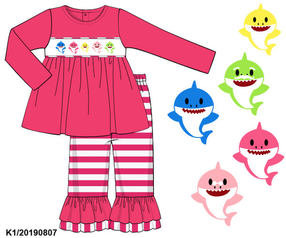Baby Shark Smocked Girl Set PO14