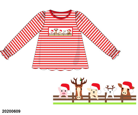 Christmas Farm Smocked Girl Shirt PO13 Extras - ETA mid November