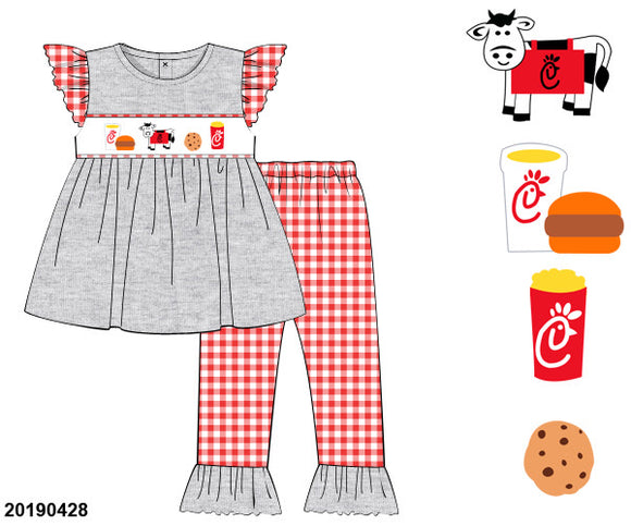 Chickfila Smocked Girl Set