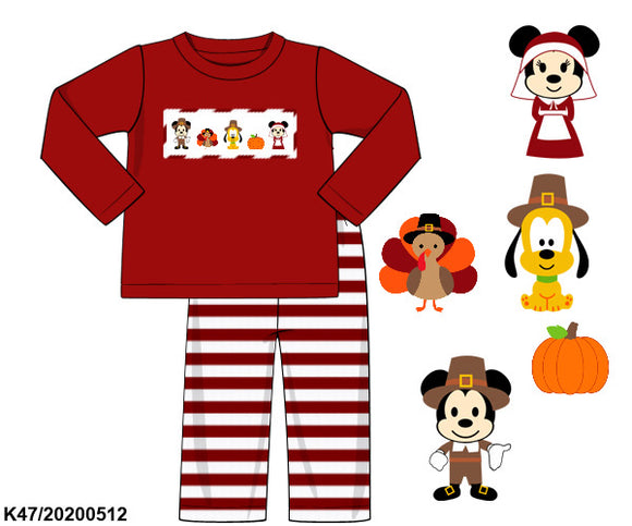 Disney Thanksgiving Smocked Boys Long Sleeve Pant Set PO12