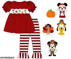 Disney Thanksgiving Smocked Girl Set PO12