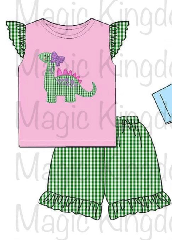 Dinosaur Girl Appliqué Shorts Set - ETA mid April