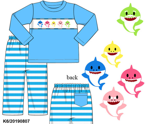 Baby Shark Smocked Boy Set PO14