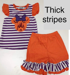 Minnie Halloween Castle Applique THICK STRIPES - ETA mid August