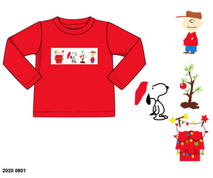 Charlie Brown Christmas Smocked Boy Shirt PO13