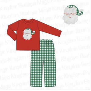 Red Santa Applique Boy Set