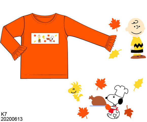 Charlie Brown Thanksgiving Smocked Girl Shirt PO12