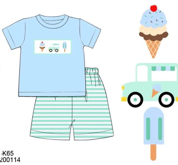 Ice Cream Smocked Boy Set - ETA mid May