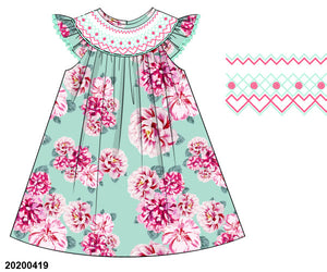 Mint Floral Smocked Dress PO8