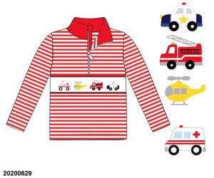 Emergency Vehicles Smocked Pullover PO12