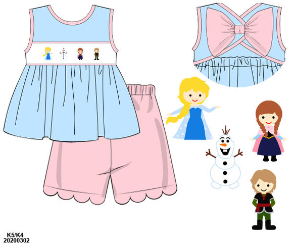 Frozen Smocked Girl Short Set PO9 Extras