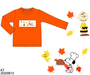 Charlie Brown Thanksgiving Smocked Boy Shirt PO12