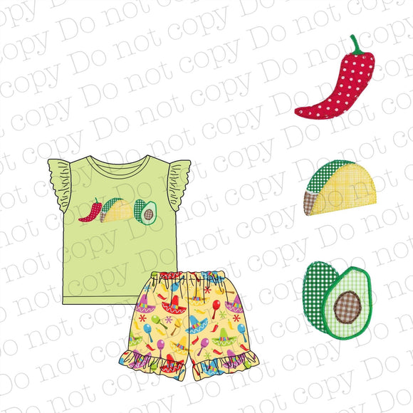 Cinco De Mayo Appliqué Girls Short Set
