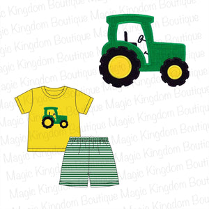 Green Tractor Appliqué Boy Set Extras - ETA late August
