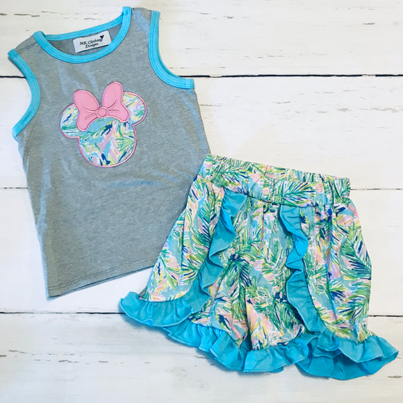 Blue Floral Minnie Appliqué Girl Shorts Set