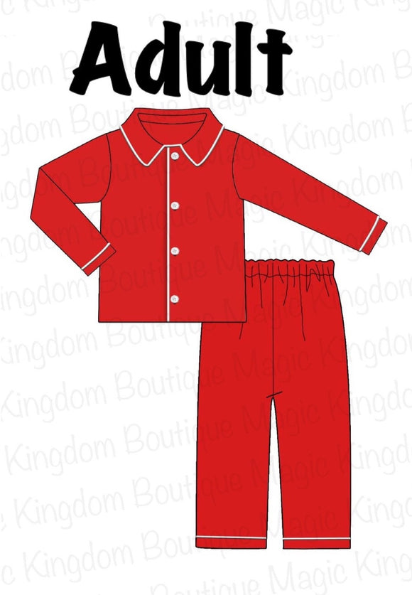 ADULT Red Knit Pajamas Collection
