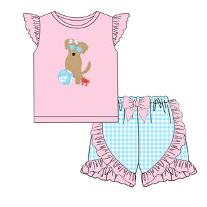 Beach Puppy Appliqué Girl Set - ETA early June