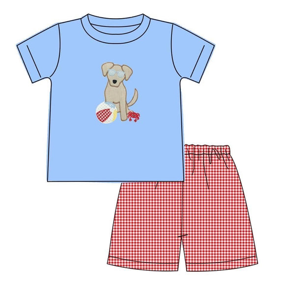 Beach Puppy Appliqué Boy Set - ETA early June