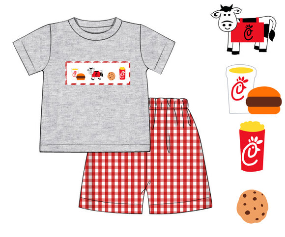 Chickfila Smocked Boy Short Set - ETA early June