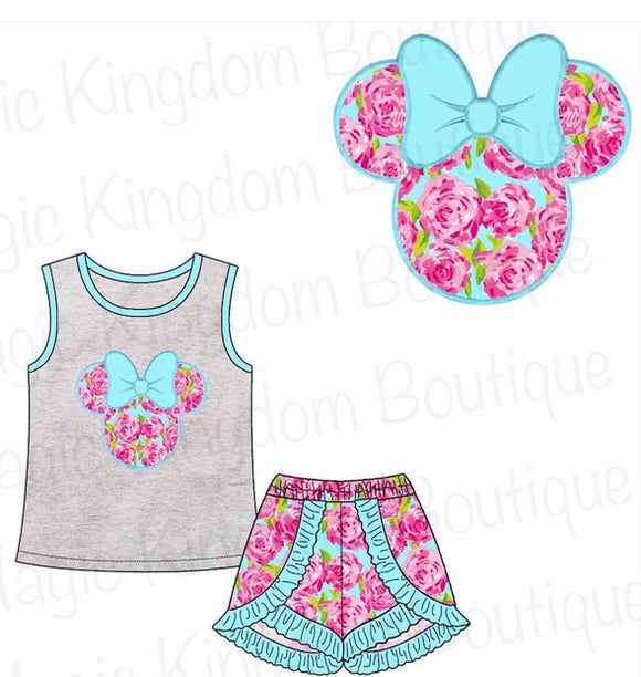 Pink Floral Minnie Appliqué Girl Shorts Set