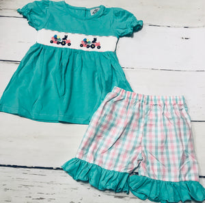 Easter Tractor Smocked Girl Set