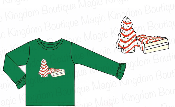 Christmas Cakes Long Sleeve Applique Girl Shirt - ETA late October