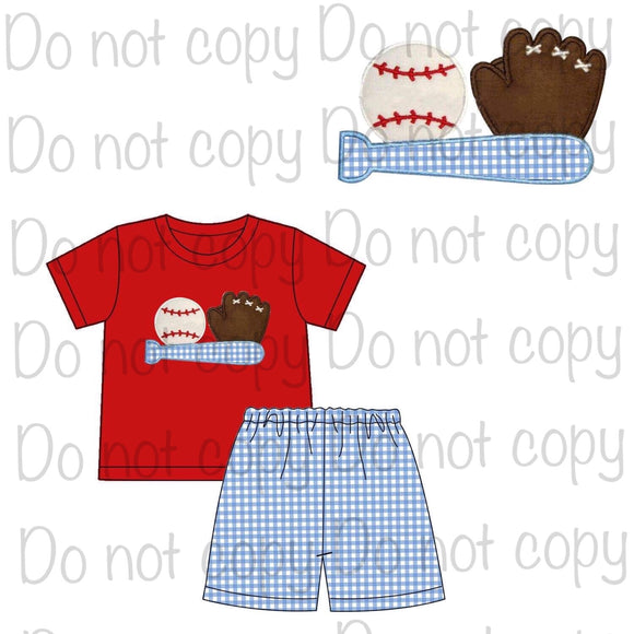 Baseball Boy Appliqué Shorts Set - ETA mid April